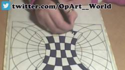 Drawn optical illusion op art