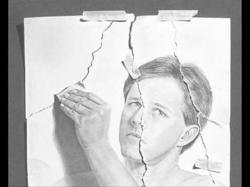 Drawn optical illusion ripped paper