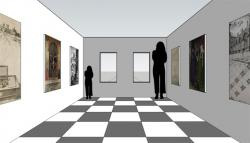 Drawn optical illusion room
