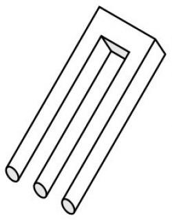 Drawn fork optical illusion