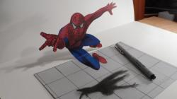 Drawn optical illusion spiderman