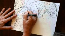 Drawn optical illusion wavy line
