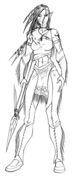 Drawn orc female