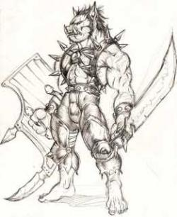 Drawn orc grey