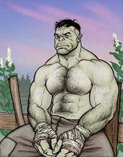 Drawn orc male