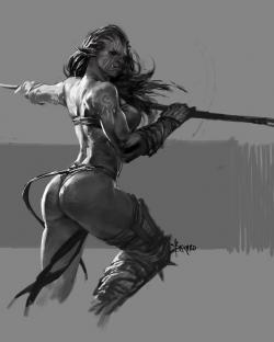 Drawn orc spear