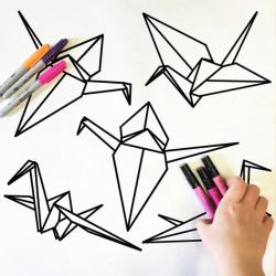 Drawn origami doodle