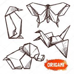 Drawn origami hand