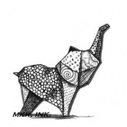 Drawn origami origami elephant
