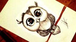 Drawn owlet kawaii