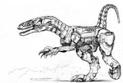 Drawn velociraptor anime