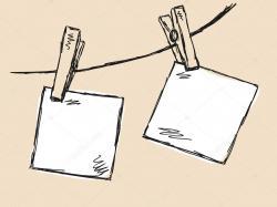 Drawn paper clothesline