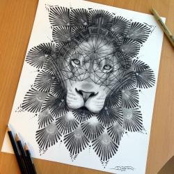 Drawn ornamental lion