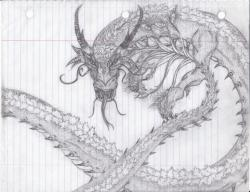 Drawn paper dragon