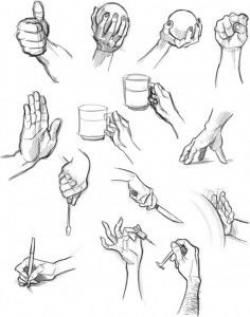 Drawn paper hand holding
