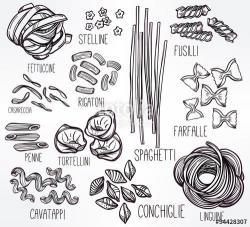 Drawn pasta doodle