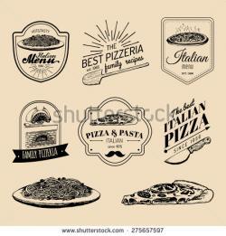 Drawn pizza italy food