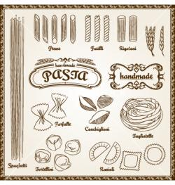 Drawn pasta vector