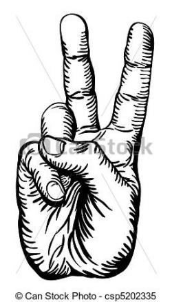 Drawn peace sign black and white