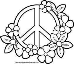 Drawn peace sign coloring page