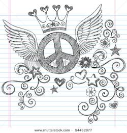 Drawn peace sign doodle