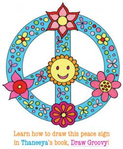 Drawn peace sign groovy