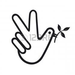 Drawn peace sign hand clipart