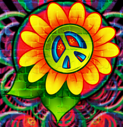 Drawn peace sign hippie