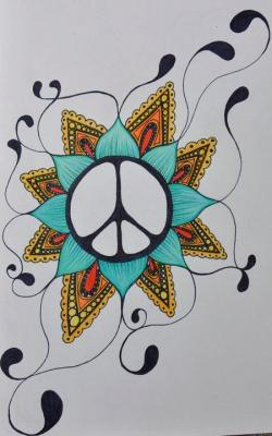 Drawn peace sign indian