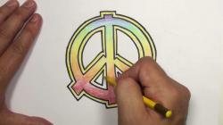 Drawn peace sign pencil drawing