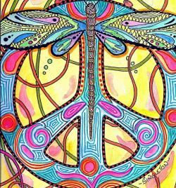 Drawn dragonfly psychedelic