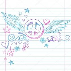 Drawn peace sign wing