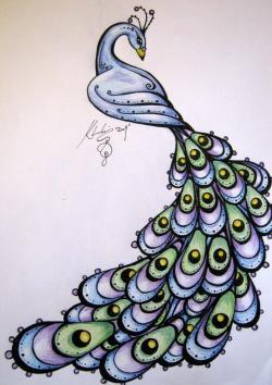 Drawn peafowl zentangle