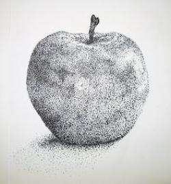 Drawn pen apple