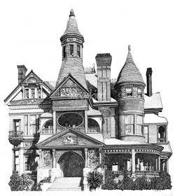 Drawn bulding  victorian architecture