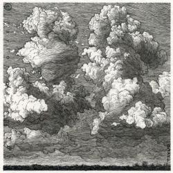 Drawn clouds pen and ink