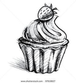 Drawn cupcake bakery