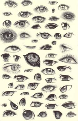 Drawn eyeball different eye