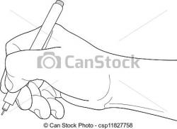 Drawn pen hand clip art