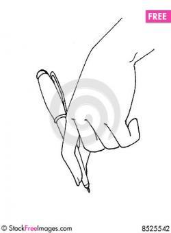 Drawn pen hand holding