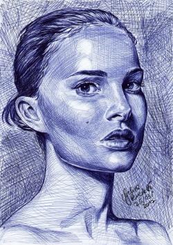 Drawn portrait ballpoint pen