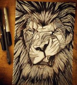Drawn pen lion