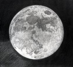 Drawn pen moon
