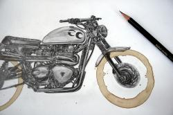 Drawn pen motorcycle