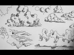 Drawn clouds ink drawing