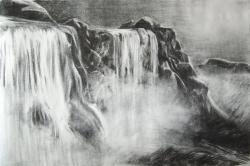 Drawn waterfall fall landscape