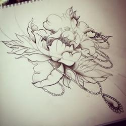 Drawn peony neo traditional