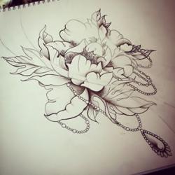Drawn peony neo traditional
