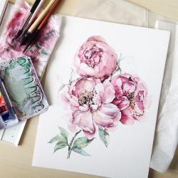 Drawn peony painting