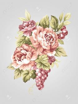 Drawn peony peony bouquet